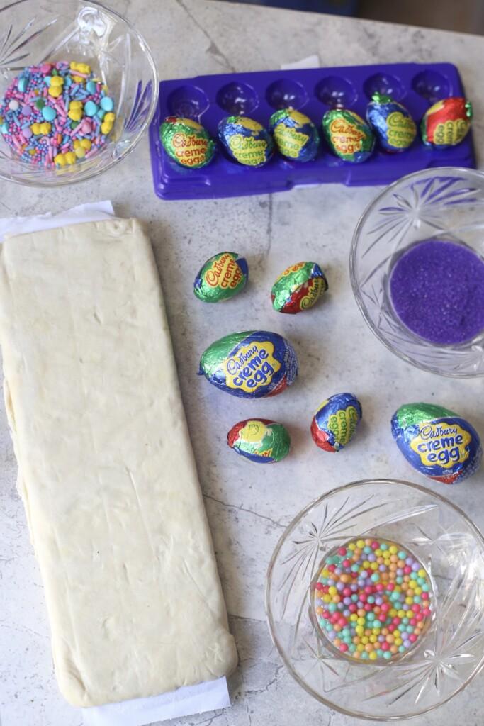 puff pastry, cadbury eggs, colored sugar
